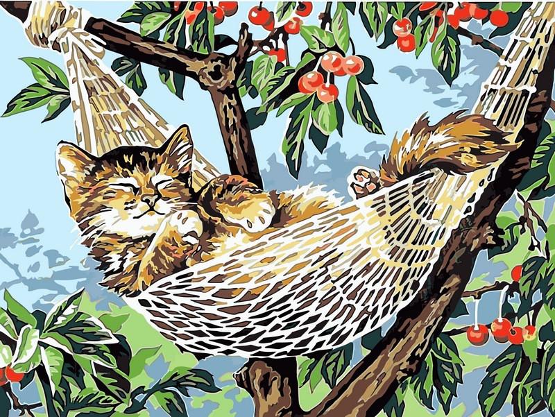Набор для рисования 30×40 см. Котенок в гамаке, фото 1