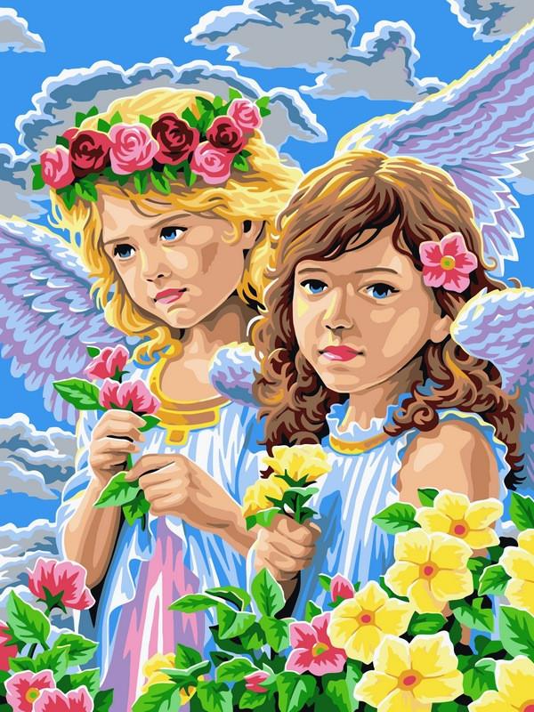 Раскраска по цифрам 30×40 см. Девочки-ангелы