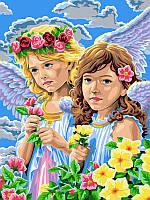 Раскраски по цифрам 30×40 см. Девочки-ангелы, фото 1