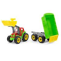 Трактор с ковшом и прицепом