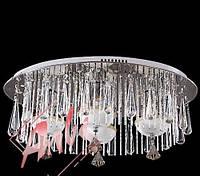 Люстра на 4 ламповая с подсветкой и пультом управления для зала, спальни 1852/4 хром