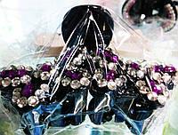 """Краб для волос """"Соцветие""""  рисунок с бело-фиолетовыми  камнями"""