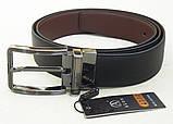 Кожаный двухсторонний ремень Alon (черный, коричневый), фото 3