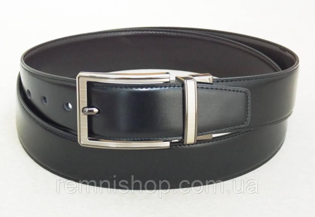 Двухсторонний кожаный ремень Alon (черный, темно-коричневый)