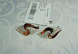 Серебряные серьги 925 пробы со вставками золота 375 пробы Ксения, фото 3