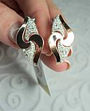 Серебряные серьги 925 пробы со вставками золота 375 пробы Ксения, фото 4