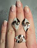 Серебряные серьги 925 пробы со вставками золота 375 пробы Ксения, фото 7
