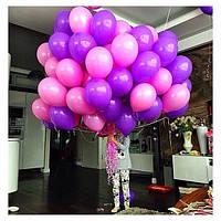 Гелиевые шарики для девушки. Нежное сочетание розового и фиолетового цвета.