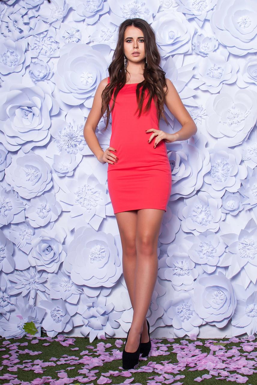 Платье женское облегающее с разрезом ― Коралловый