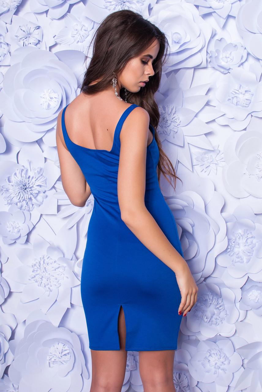 Платье женское облегающее с разрезом ― Синий