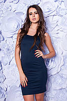 Платье женское облегающее с разрезом - Темно синий