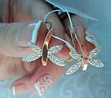Серебряные серьги 925 пробы со вставками золота 375 пробы Полет, фото 5