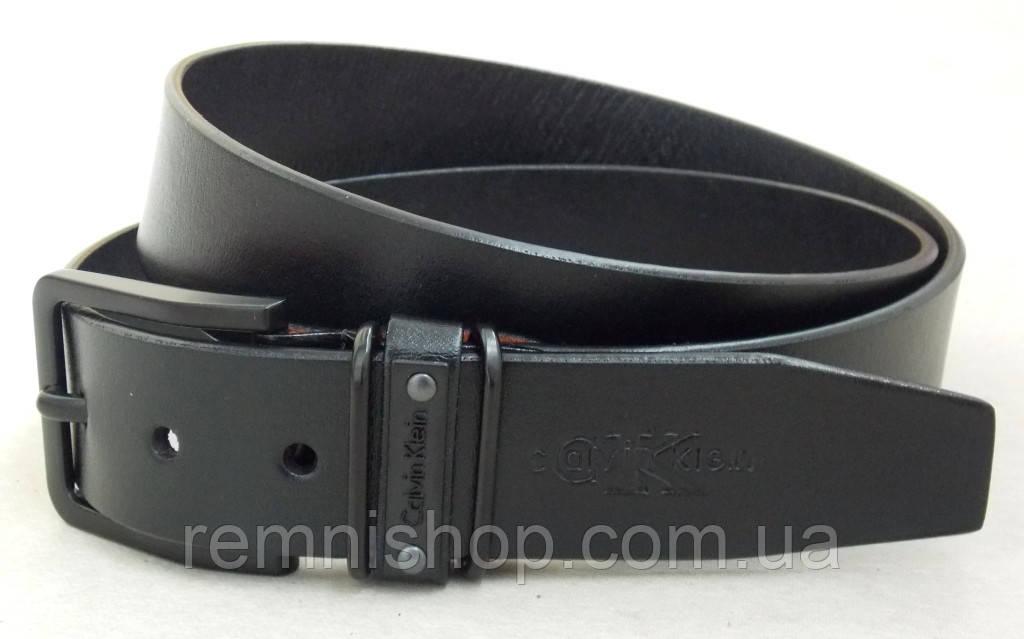 Мужской кожаный ремень CALVIN KLEIN с черной пряжкой