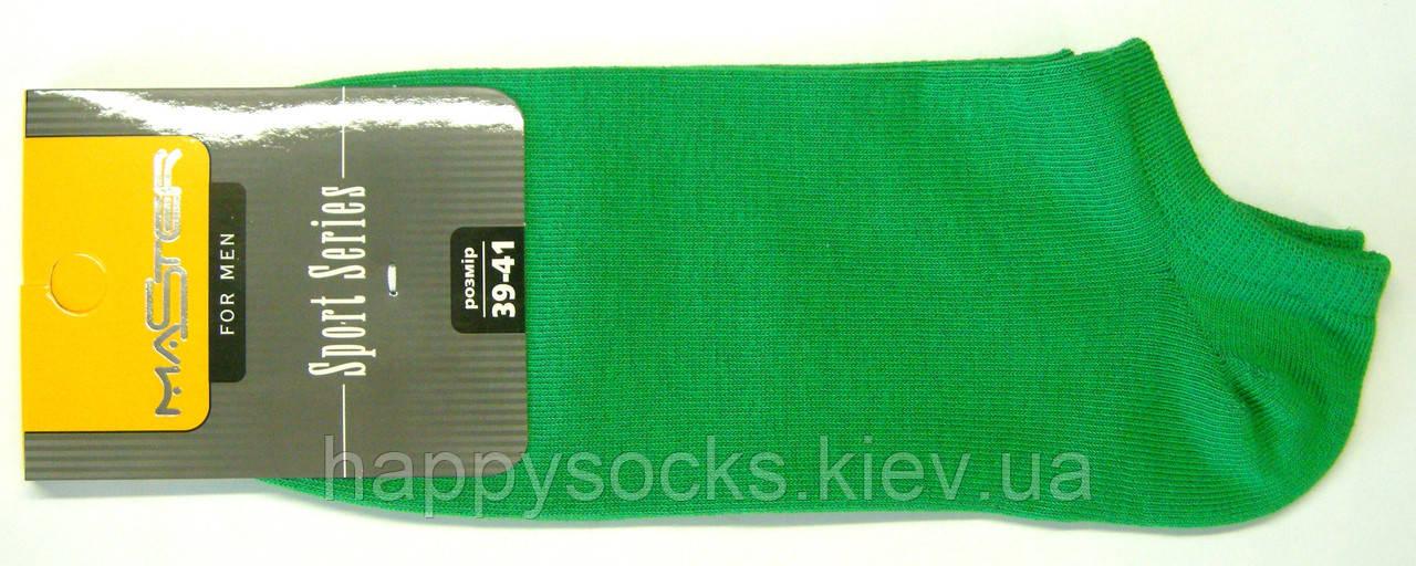 Низкие мужские носки зеленого цвета