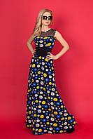 Роскошное длинное платье в пол с цветочным принтом декорировано сеткой на груди