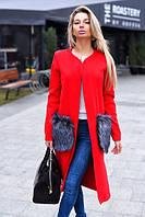 Пальто женское из кашемира и меховыми карманами