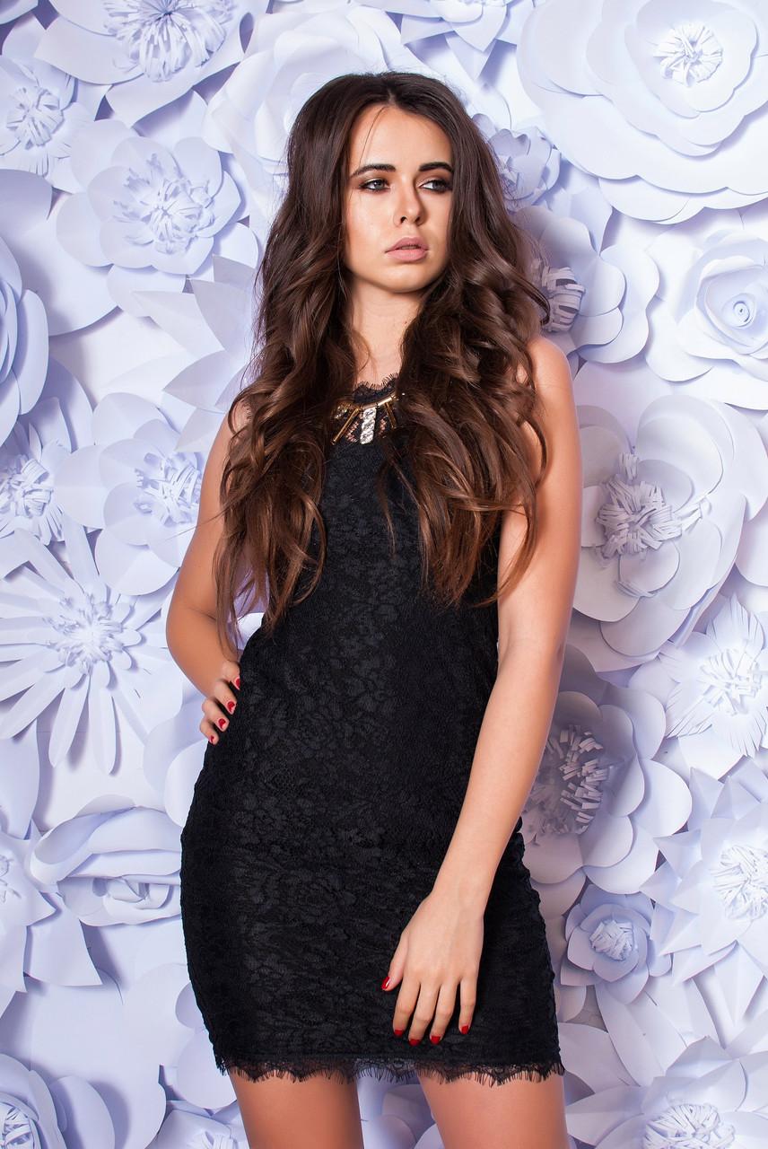 Платье женское гипюровое с молнией ― Черный