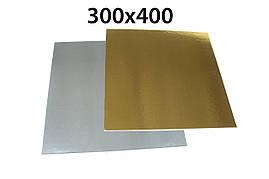 Подложка под торт прямоугольная 40*30см h-1мм золото/серебро 3 шт