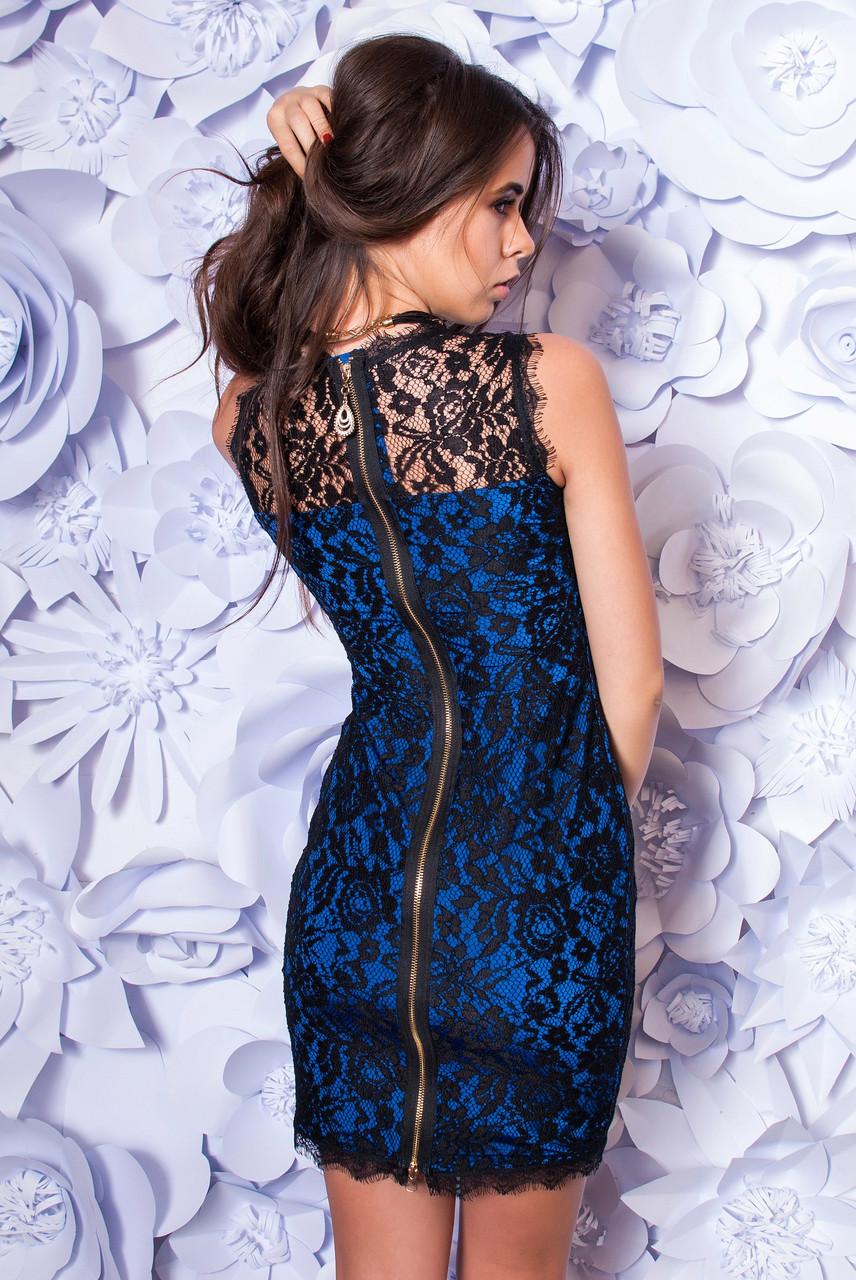 Платье женское гипюровое с молнией ― Синий