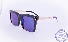 Квадратные зеркальные очки с синими стеклами - Черные - 13086