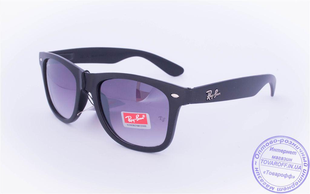 Солнцезащитные матовые очки унисекс Ray Ban Wayfarer - Черные - W1