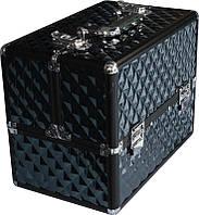 Кейс для мастера черный профессиональный металлический раздвижной TJ-255 YRE,  компактный чемодан для визажа