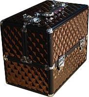 Кейс мастера коричневый профессиональный металлический раздвижной TJ-255 YRE, компактный чемодан для визажа