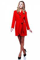 Эффектное кашемировое пальто Даниэлла красного цвета с отложным воротником