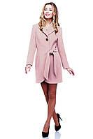 Обалденное молодежное пальто в модном цвете пудра с врезными карманами