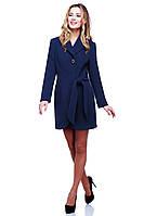 Модное синее пальто Даниэлла приталенного кроя  из кашемира