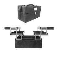 Кейс мастера 2700-3 YRE раздвижной черный с зеркалом, купить чемодан для визажа