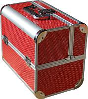 Кейс мастера CH-2629 YRE раздвижной красный с камнями, купить чемодан для визажа в интернет-магазине