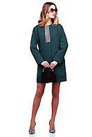 Ультрамодное кашемировое пальто Кристи в изумрудном цвете декорировано стразами спереди и сзади