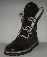 Полусапожки-ботинки зимние стильные замшевые коричневые шнуровка Код 139 м