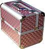 Кейс мастера розовый металлический CH-2629 YRE раздвижной с алюминиевыми вставками, купить чемодан для визажа