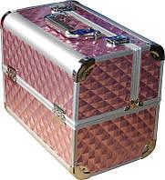 Кейс мастера розовый металлический ch-2629 yre раздвижной с алюминиевыми вставками,  чемодан для визажа