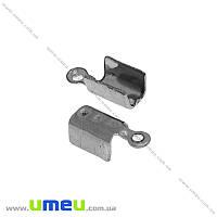 Зажим для шнура из нержавеющей стали, 10,5х4,5 мм, Темное серебро, 1 шт (STL-015122)