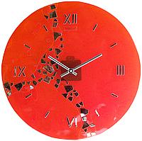 Настенные часы Река времени D-37,5 см оранжевые+платина