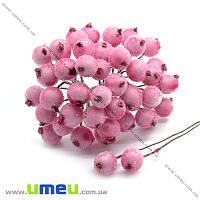 Калина в сахаре, 12 мм, Розовая светлая, 1 пара (DIF-015069)