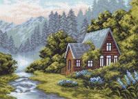 Канва с рисунком для вышивания Отдых в горах