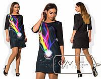 Стильное короткое черное платье из дайвинга с 3D принтом Фотоаппарат.  Арт-1711/41.
