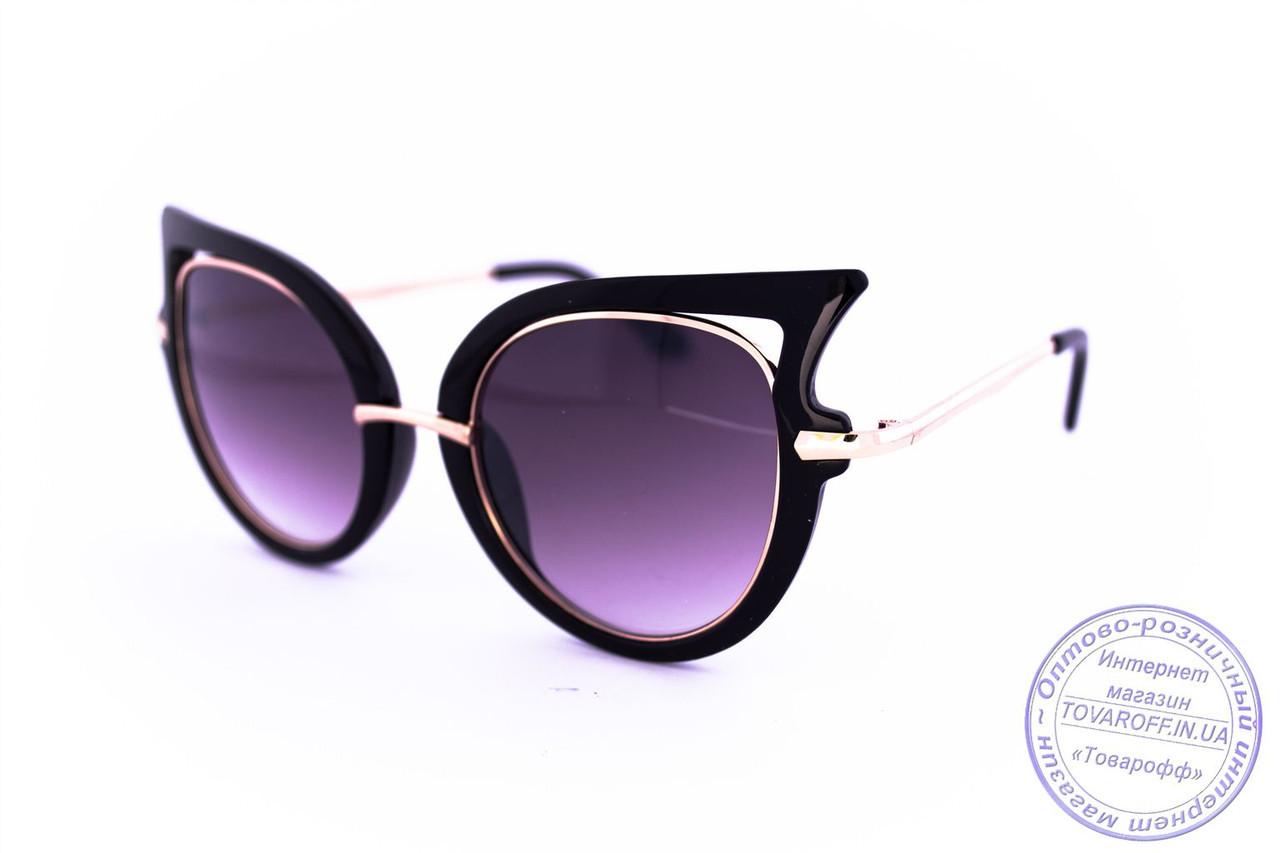 Оптом модные женские солнцезащитные очки Кошачий глаз - Черные - 228