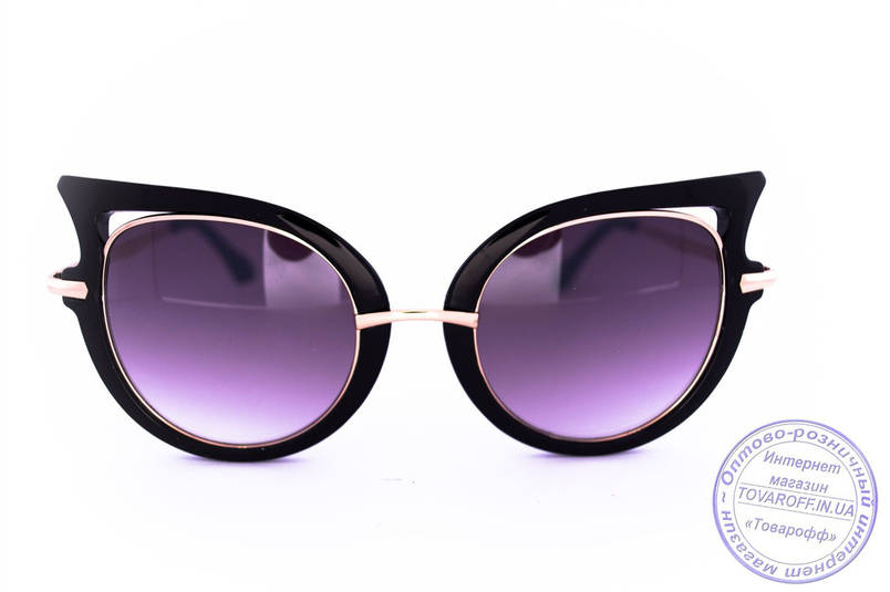 Оптом модные женские солнцезащитные очки Кошачий глаз - Черные - 228, фото 2