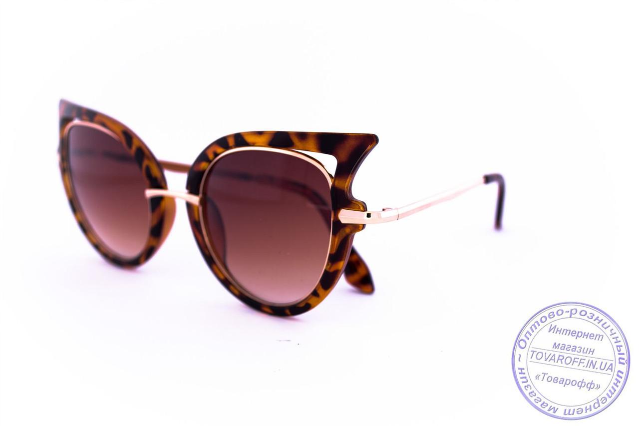 Оптом модные женские солнцезащитные очки Кошачий глаз - Леопардовые - 228
