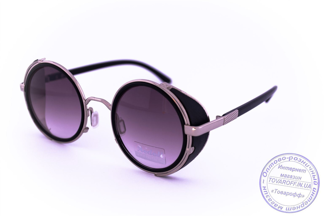 Оптом модні круглі окуляри в стилі стімпанк - Чорні - 264