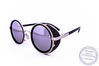 Оптом модные круглые очки в стиле стимпанк зеркальные - Черные - 264, фото 1