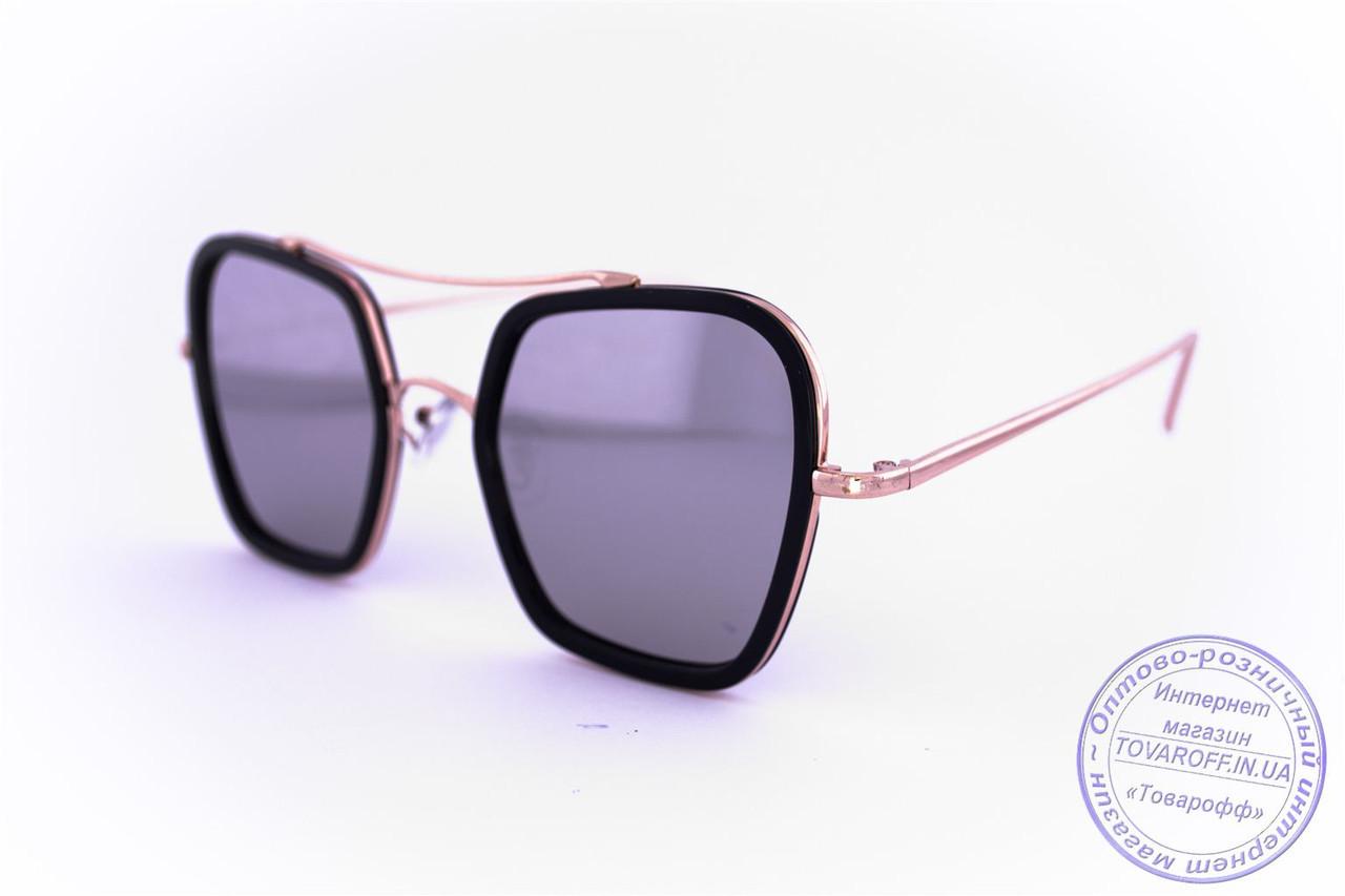 Оптом женские квадратные солнцезащитные очки Оверсайз зеркальные - Черные - 947