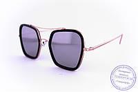 Оптом женские квадратные солнцезащитные очки Оверсайз зеркальные - Черные - 947, фото 1