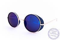 Оптом модные круглые зеркальные очки в стиле стимпанк - Синие - 953, фото 1