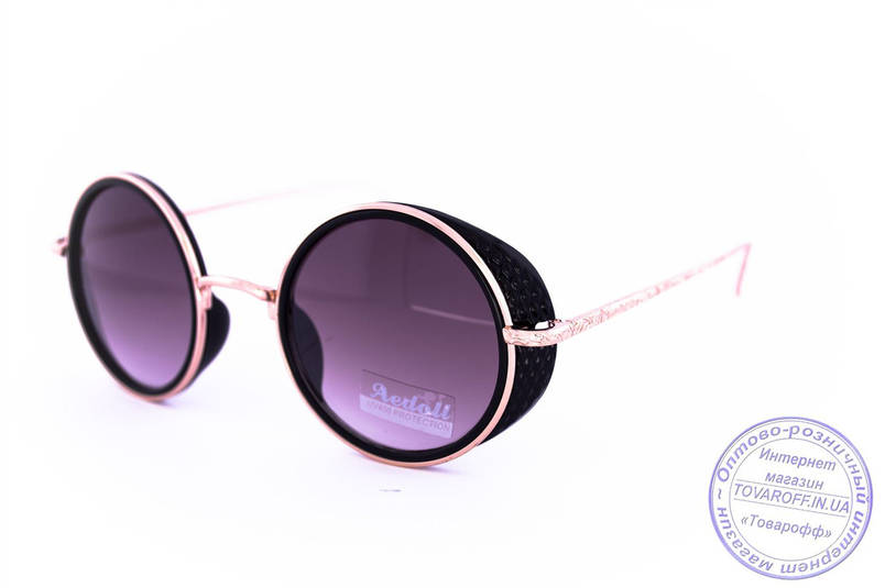 Оптом модные круглые очки в стиле стимпанк - Черные - 953, фото 2